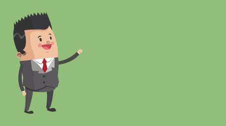 занятость : Businessman greeting over green background High Definition animation colorful scenes
