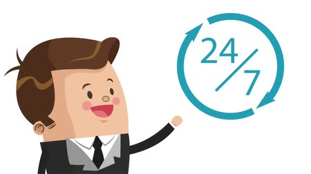 yedi : Businessman twentyfour hours and seven days High Definition animation colorful scenes Stok Video