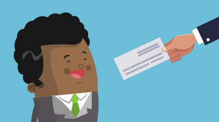 administração : Afro businessman receiving bank check High Definition animation colorful scenes