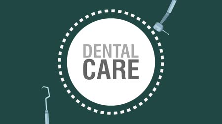 ortodontik : Dental care and hygiene emblem over dental tools background High Definition coloful animation scenes Stok Video