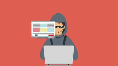 robo de identidad : Hacker with laptop over red background High definition colorful animation scenes