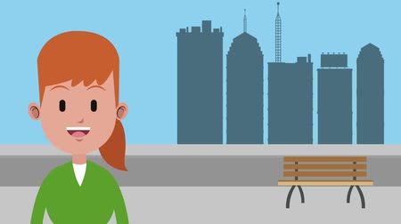 caseiro : Happy young woman over cityscape High definition colorful animation scenes