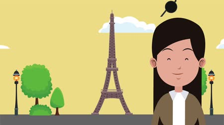 eiffel : Young woman and eiffel tower in paris High definition colorful animation scenes Stock Footage