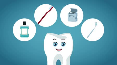 denetleme : Tooth cartoon with dental symbols High Definition coloful animation scenes