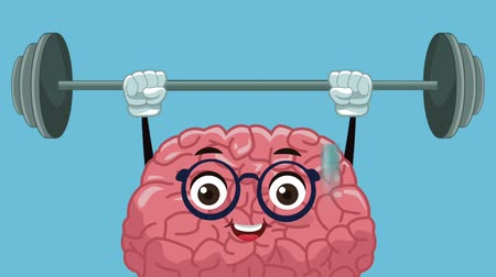deha : Cute brain cartoon lifting weights High Definition animation colorful scene