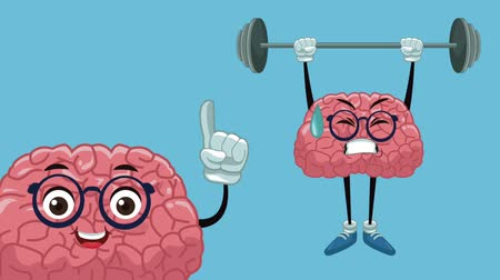 entellektüel : Cute brain cartoon lifting weights High Definition animation colorful scene