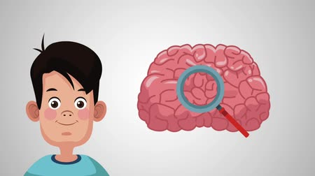 deha : Cute boy brain intellgence High Definition animation colorful scene Stok Video