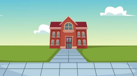 educar : School building at sunny day cartoon High Definition animation colorful scenes Stock Footage