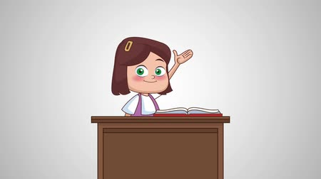 образовательный : Beautiful school girl with book and apple at desk High Definition animation colorful scenes