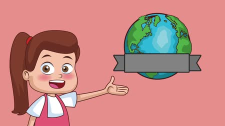 schoolkid : Beautiful girl showing earth planet cartoon High Definition animation colorful scenes Stock Footage