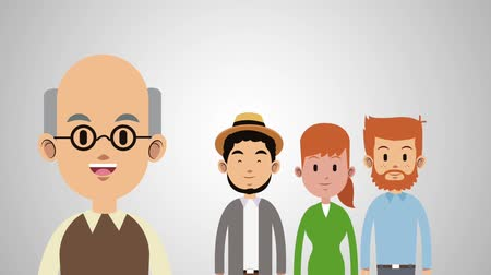 мультфильмы : Father with adult sons and daughter in round icons cartoons High Definition animation scenes Стоковые видеозаписи