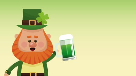 elf : Cute elf holding beer over green background High definition animation colorful scenes
