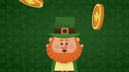 st patrick : Cute elf with hat over green clovers background High definition animation colorful scenes
