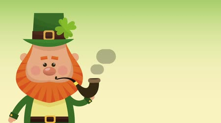 st patrick : Cute elf with tobacco pipe over green background High definition animation colorful scenes
