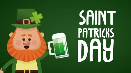 elf : Cute elf with beer saint patricks day High definition animation colorful scenes Stock Footage