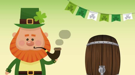 st patrick : Cute elf with tobacco pipe and beer barrel High definition animation colorful scenes