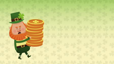 elf : Cute elf holding coins over green clovers background High definition animation colorful scenes Stock Footage