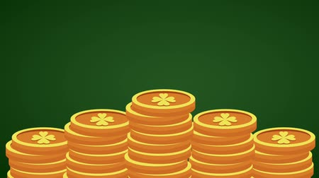 st patrick : Clover coins stacked over green background High definition animation colorful scenes Stock Footage