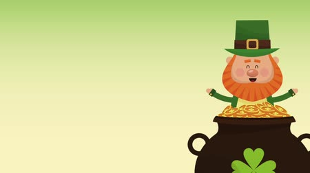 st patrick : Cute elf with coins pot cartoons High definition animation colorful scenes