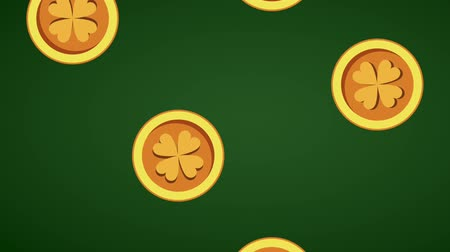 st patrick : Clover coins falling over green background High definition animation colorful scenes