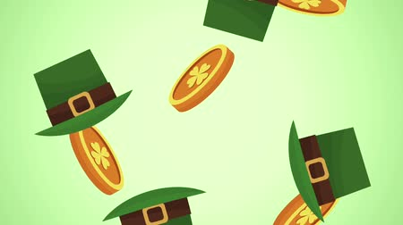 elves : Coins and elf hats falling over green background High definition animation colorful scenes