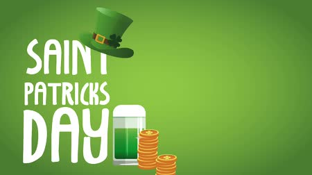 elfo : Saint patricks day card with elf hat coins and beer cup High definition animation colorful scenes