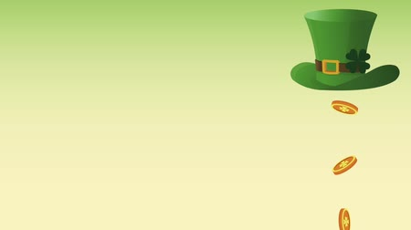 elf : Coins falling from elf hat over green background High definition animation colorful scenes