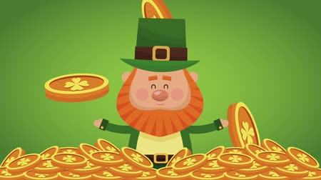 elfo : Cute and rich elf greeting inside gold coins High definition animation colorful scenes