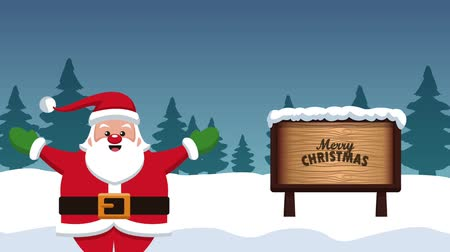poste de sinalização : Cute santa claus in the snow with blank wooden signpost High definition animation colorful scenes