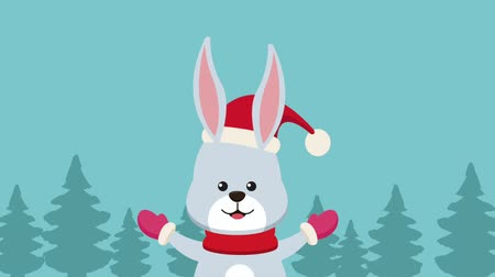 tempo de natal : Cute rabbit with santa hat at snow High definition animation colorful scenes