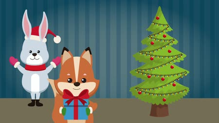 líska : Cute bunny and fox with giftbox and christmas tree High definition animation colorful scenes Dostupné videozáznamy