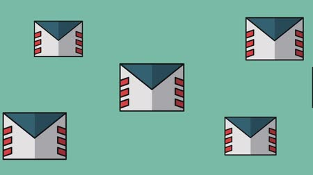 отправка почтой : Mail envelope moving over blue background High definition animation colorful scenes