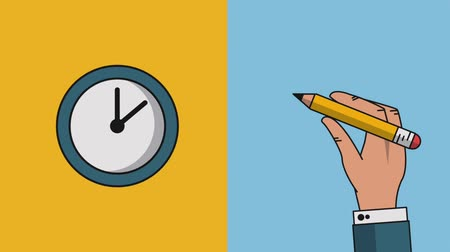 grafit : Hand using pencil and clock running High definition animation colorful scenes Stok Video