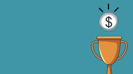 ilustracje : Coin falling to trophy cup High definition animation colorful scenes