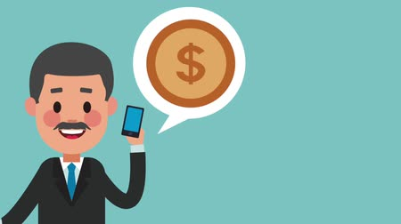 sobre : Businessman talking about money with smartphone High Definition animation colorful scenes