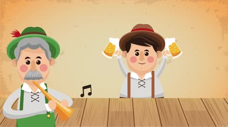 Октоберфест : Bavarian mens playing the trumpet and holding beer High definition colorful scenes animation Стоковые видеозаписи