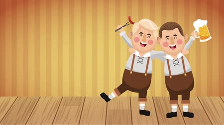 Октоберфест : Bavarian mens drinking beer and eating sausages High definition colorful scenes animation