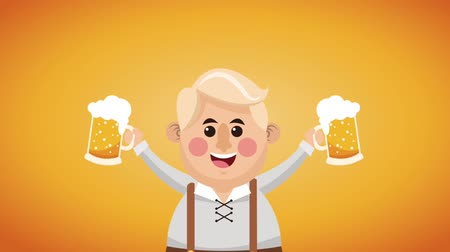 Октоберфест : Bavarian man holding beers cup cartoon High definition colorful scenes animation Стоковые видеозаписи