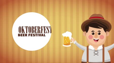 Октоберфест : Bavarian man holding beer cups High definition colorful scenes animation
