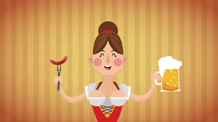 Октоберфест : Sexy bavarian woman holding beer and sausage High definition colorful scenes animation