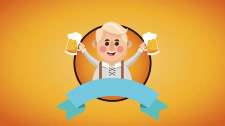 Октоберфест : Bavarian man holding beers with blank ribbon banner High definition colorful scenes animation