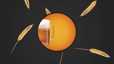Октоберфест : Oktober fest round symbol over wheat and beers falling background High definition colorful scenes animation