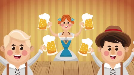 Октоберфест : Bavarian people celebrating with beers High definition colorful scenes animation
