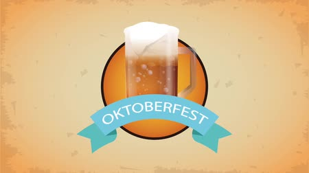 Октоберфест : Oktober fest beer cup symbol with ribbon banner High definition animation colorful scenes Стоковые видеозаписи