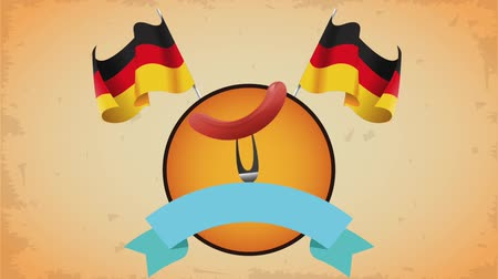 baharatlı alman sosisi : Sausage on fork with germany flags and blank ribbon banner High definition animation colorful scenes