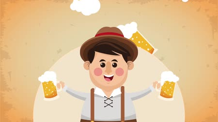 Октоберфест : Bavarian man holding beers cute cartoon High definition animation colorful scenes