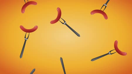 Октоберфест : Sausages on fork falling background High definition animation colorful scenes