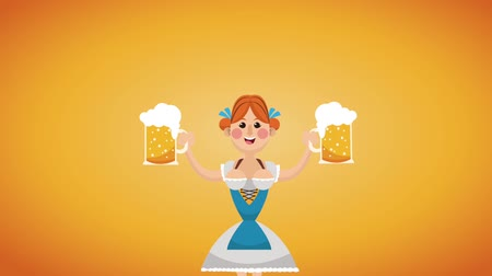 Октоберфест : Bavarian woman with beers on oktober fest High definition animation colorful scenes Стоковые видеозаписи