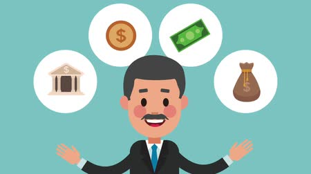 sociologia : Businessman with money round icons High Definition animation colorful scenes