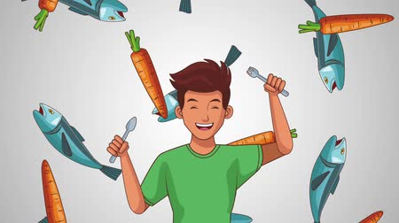 gıda maddesi : Young man with fork over fishes and carrots falling background High definition colorful scenes animation